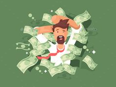 Man in a pile of money. Success businessman rich, vector illustration. Vector files, fully editable. Includes AI CS5, EPS 10.