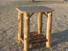Pine log nightstand, sold for: $125