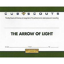 this certificate is for recipients of the arrow of light