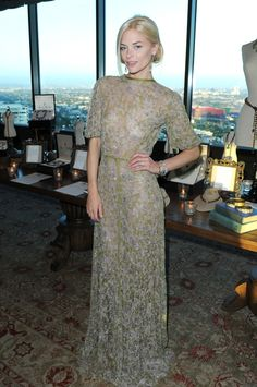 Jamie King in Valentino...this dress is mesmorizing. Shimmery, pale, ethereal green. I would love to see it in person.