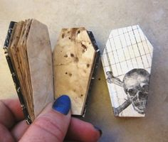 Mini Book Miniature Coffin Book Journal by AhtheMacabre on Etsy Halloween Crafts, Halloween Decorations, Scrapbook Images, Diy And Crafts, Paper Crafts, Book Journal, Journals, Handmade Books, Book Binding