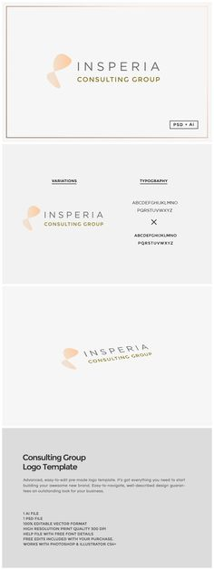 Consulting Group Logo Template This easy-to-use Insperia consulting group logo template will add a unique character your brand name. The download includes the design in 100% editabl... https://creativemarket.com/MeeraG/319587-Consulting-Group-Logo-Template