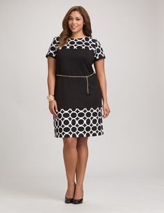 Plus Size | Dresses | Work Dresses | Roz & ALI Plus Size Circle Print Belted Dress