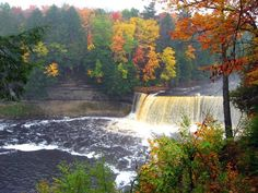 Michigan's Tahquamenon Falls  in the Fall...I have this same picture except it was taken in the summer.   Love the Falls.