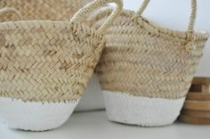 wicker baskets with bottoms painted white