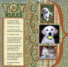 Scrapbook layout could also be used to show case a child's favorite toys. THIS IS A GREAT PAGE!!!!