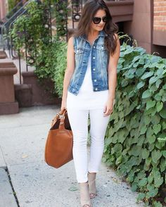 Pin for Later: 16 Smart Styling Ideas For a Simple White Tank Top With a Denim Vest, White Jeans, and Peep-Toe Booties