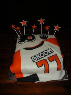 Flyers Groom Cake. -- I'd really need to practice my fondant skills to make this cake.