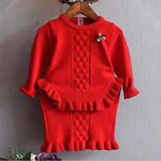 Find More Clothing Sets Information about 2PCS/2 6Years/Spring Autumn Baby Girls Outfits Red Pink Cute Knit Sweater+Skirt Korean Kids Clothe Children Clothing Sets BC1332,High Quality children clothing,China girls outfits Suppliers, Cheap children clothing set from babzapleume Boutique store on Aliexpress.com