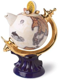 The TeaPottery Globe Teapot. #Teapot #Collectible #Decor #Gift #gosstudio .★ We recommend Gift Shop: http://www.zazzle.com/vintagestylestudio ★