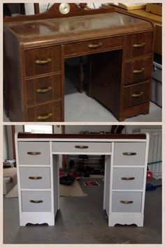 Waterfall desk re-do. Before and after.