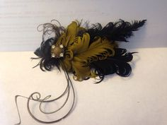 Gorgeous Olive Green & Black Feather Hair Clip by UpcycledPdxPoppy