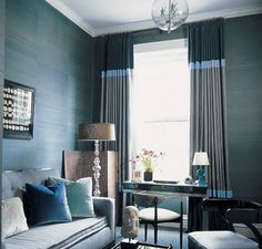 Navy blue striped curtains living room - love the paneled sections on each end for the den? Blue Couch Living Room, Valances For Living Room, Bedroom Drapes, Curtains Living, Living Room On A Budget, Living Room Decor, Living Rooms, Master Bedroom, Living Room Images