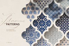 Ad : Moroccan patterns set - a carefully hand drawn collection of 20 islamic seamless vector patterns inspired by beautiful Arab and Moroccan tiles and Portuguese azulejos. Graphic Patterns, Tile Patterns, Pattern Art, Pattern Drawing, Pattern Design, Prints And Patterns, Geometric Patterns, Tile Design, Moroccan Pattern