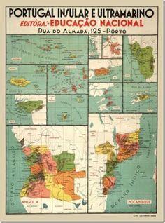 Map of the Portuguese colonial empire Portuguese Empire, Portuguese Culture, Vintage Advertisements, Vintage Ads, Vintage Posters, History Of Portugal, Old Scool, Nostalgic Pictures, Alternate History