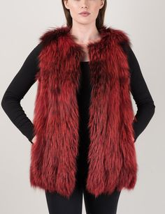 Dyed Red Silver Fox Vest