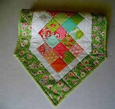 Quilted Table Runner in Spring Colors Patchwork Quilted Table