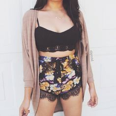 Double tap  Lilac floral shorts and bustier available at  @ootdfash @ootdfash  @ootdfash @ootdfash  www.ootdfash.com  #ootdfash