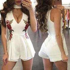 Stylish Floral Embroidered Choker Ruched Romper
