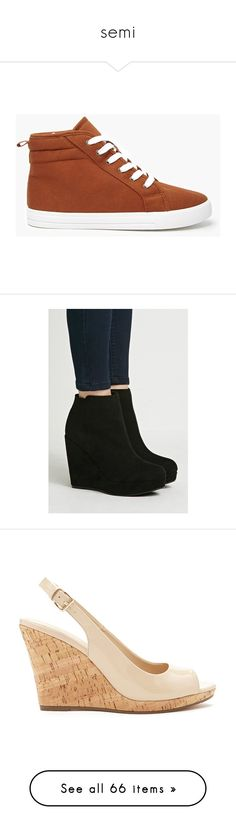 """semi"" by photoashley ❤ liked on Polyvore featuring shoes, boots, ankle booties, black, black platform boots, wedge heel boots, black booties, black wedge boots, black wedge booties and sandals"