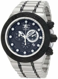 Invicta Men's 1940 Subaqua Sport Chronograph Stainless Steel Watch Invicta. $199.00. Chronograph functions with 60 second, 30 minute and 1/10th of a second subdials; date function. Black dial with silver tone hands and black hour markers; luminous; black ion-plated stainless steel unidirectional bezel, crown and pushers. Water-resistant to 100 feet (330 M). Flame-fusion crystal; brushed and polished stainless steel case and bracelet with black accents. Swiss quartz movement