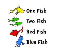 SVG STUDIO Dr Seuss One Fish Two Fish Scalable Vector Instant Download Commercial Use Cutting File Cricut Explore Silhouette Cameo