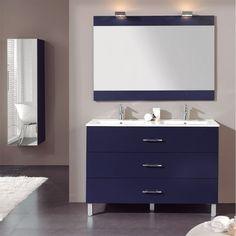 Très beau mobilier à poser pour salle de bains en line laqué. Equipé de 3 grands tiroirs de rangement. Pieds chromés et 10 coloris au choix.