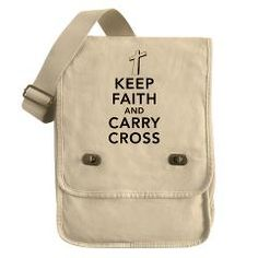 Keep faith and carry cross contemporary Christian design field bag