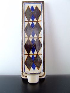 Marianne Starck Stoneware Wall Candle Holder - Brown, Blue and Beige - Michael Andersen & Son Denmark -6233 - Danish Pottery