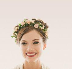 Couronne de fleurs cheveux, couronne de fleur des bois, Couronne nuptiale de tête, bandeau de bois naturel, Boho mariage, couronne de feuilles de rose - MARLENA