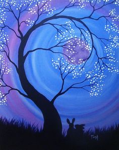 Diy canvas art 488640628319843030 - Night Blossoms by katTink on DeviantArt Source by Abstract Tree Painting, Night Sky Painting, Sunrise Painting, Moon Painting, Painting Canvas, Tree Painting Easy, Acrylic Canvas, Oil Pastel Paintings, Oil Pastel Art