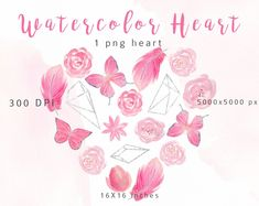 Watercolor Heart Clipart Watercolor Feathes Bow Png Element Clip