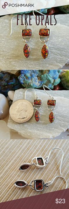 Fire Opals Earrings Sterling Silver Earth Art hand crafted artisan earrings in solid sterling silver setting hallmarked 925. Lots of fire in these gorgeous fire opal dangle earrings! New! Always wear art! Earth Art hand crafted artisan Jewelry Earrings
