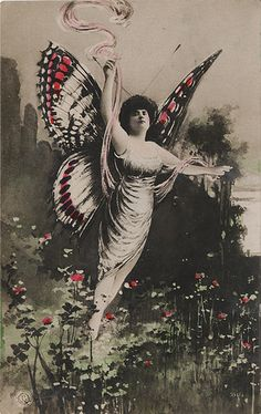 Lady with Butterfly Wings - Hand Colored Real Photo Postcard