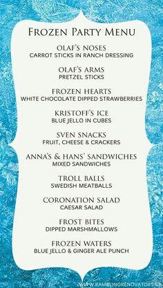birthday parti, parti menu, frozen parti, snack, parti idea, frozen foods