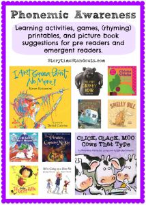 Phonemic Awareness learning activities, games, printables and picture book suggestions from Storytime Standouts