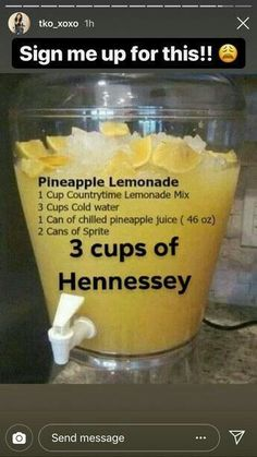 alcoholicdrinks pineapple lemonade hennessy Pineapple Lemonade Hennessy Pineapple Lemonade Hennessy You can find Liquor drinks and more on our website Holiday Drinks, Party Drinks, Cocktail Drinks, Fun Drinks, Healthy Drinks, Beverages, Alcohol Drink Recipes, Punch Recipes, Shot Recipes