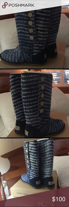 Ugg Button slip-on boots Ugg low pro button navy bluish canvas boots Never been worn UGG Shoes Ankle Boots & Booties