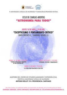 """CICLO DE CHARLAS ABIERTAS:  """"Astronomía para todos"""""""