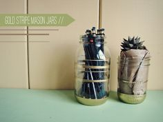 Gold Stripe Mason Jars