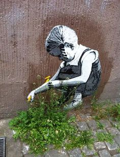 Street art combined with nature- Girl Playing With Flowers  *** Beautiful ***