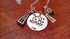 "Sterling silver oilfield wife/girlfriend/mom necklace ""My (heart) is in the oilfield""  Hand stamped personalized"