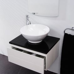 Vail Wall Mounted Basin Unit | A wall-mounted high white gloss vanity unit features high gloss black counter top and soft close draw.