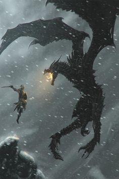 Dragon Medieval, Medieval Fantasy, Dark Fantasy, Final Fantasy, Elder Scrolls Skyrim, The Elder Scrolls, Fantasy Creatures, Mythical Creatures, Skyrim Wallpaper