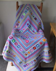 Beautiful multi-coloured OOAK hand crocheted patchwork granny square blanket #Handmade