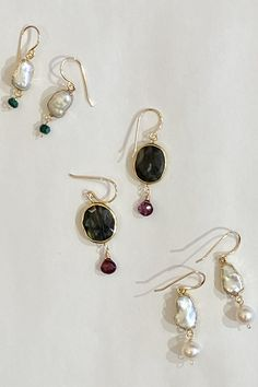 Just arrived.....new beautiful range of 14k gold filled and sterling silver drop earrings and pendant with seed pearls and semi-precious gems. Gems, Range, Jewels, Drop Earrings, Sterling Silver, Pendant, Summer, Beautiful, Collection