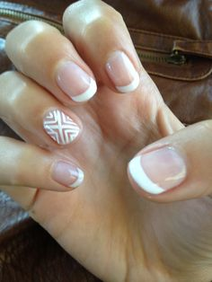 French gel manicure with tribal design