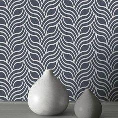 Muriva Wallpaper   Precious Silk Art Deco Silver & Blue   601535 – WonderWall by Nobletts