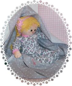 """Handmade cloth doll """"Lil Debbie"""" comes with a leopard print sleeper and outfit. ."""