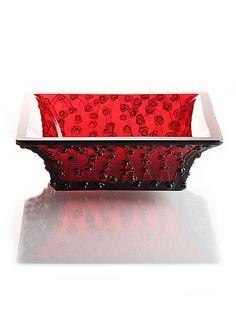 Lalique Rouge Roses Bowl